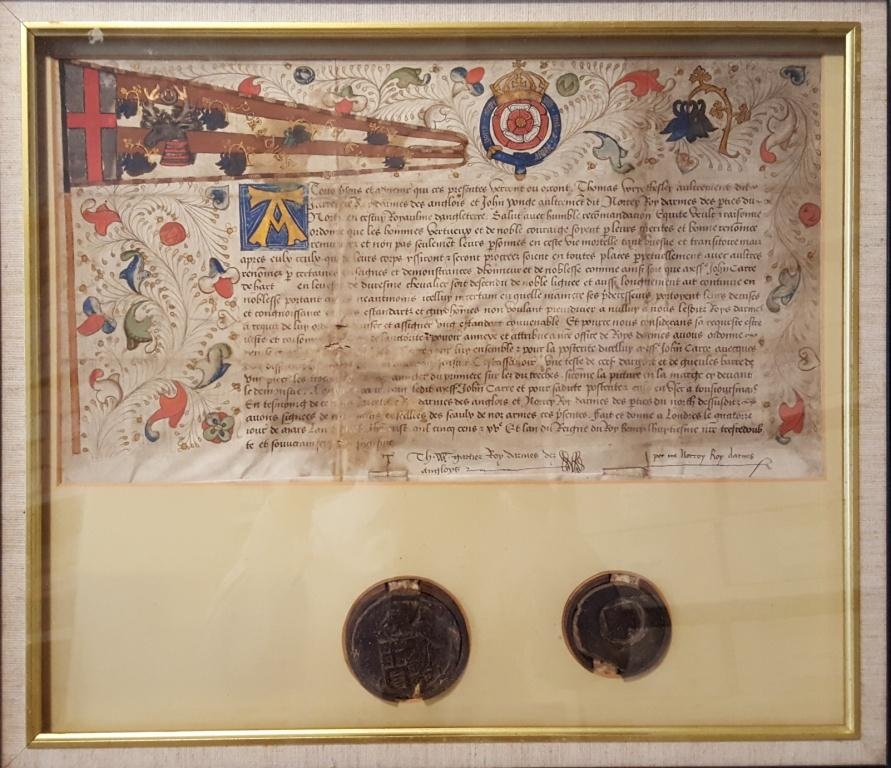 Sir John Carre of Hart 1516 grant of Badge